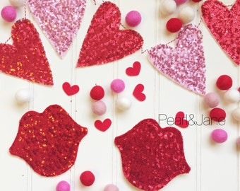 Sequin Heart or Lip Banner, Bunting, Garland - Red and Pink Designer Sequin