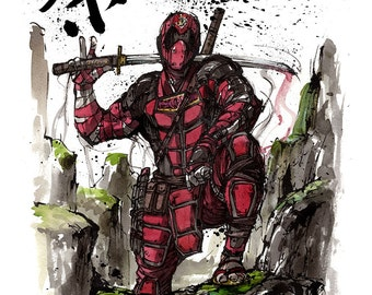 8x10inch PRINT of Deadpool samurai with Japanese calligraphy FUN