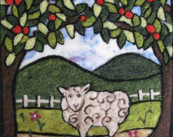 Folk Art Sheep Tapestry Needle Felt Kit
