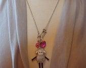 Handmade Charm Pendant Necklace w/ Rhinestone and Enameled Movable Sheep Pendant