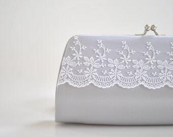Silver, Lace clutch, wedding clutch, Bridal clutch, Bridesmaids clutch, prom clutch - Custom color