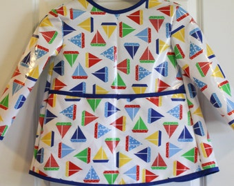 READY TO SHIP 4/5 Extra Long Kids Long Sleeved Art Smock Waterproof Apron with Primary Sailboats