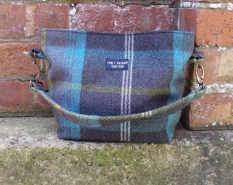 Tamsin Handbag in Grey, Turquoise and Yellow Tartan Shoulder Bag Ready to Ship