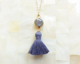 Smooth Blue Flash Labradorite Vermeil Bezel Round Connector and Dark Gray Cotton Tassel on Gold Chain Necklace (N1736)