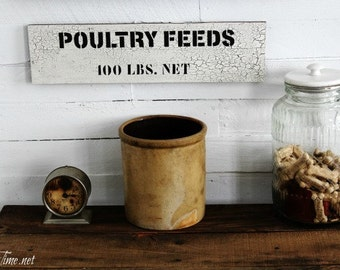Rustic Vintage Style Sign with Weathered Look - Poultry Feeds Sign