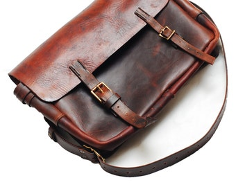 Leather Mail Bag, UniqueLeather Satchel, Leather briefcase, Leather DSLR bag, laptop bag, Handbag, Pizza bag, Tablet case
