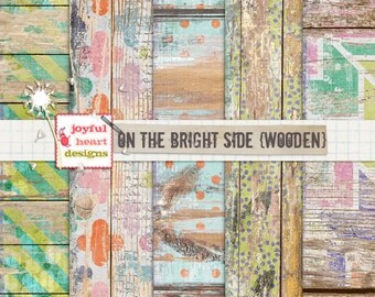 On the Bright Side {wooden} - instant download, 12x12 inch papers, printable, wood-textured, blog design, web design, photography textures