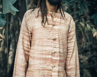 Khadi cotton Chinese Buttons Shirt ~
