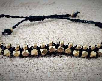 Beaded brass bracelet ~