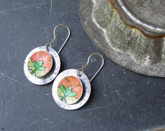 Tin Earrings, Rosy Red Flower Tin, Vintage Tin, Light Weight, Sterling Ear Wires