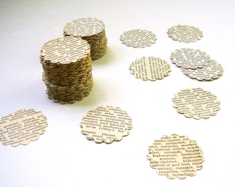 200 Vintage Dictionary Cutouts Scalloped Round Die Cuts Mixed Media