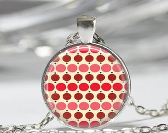 ON SALE Pink and Red Polka Dot Necklace Rockabilly Jewelry Art Pendant in Bronze or Silver with Link Chain Included