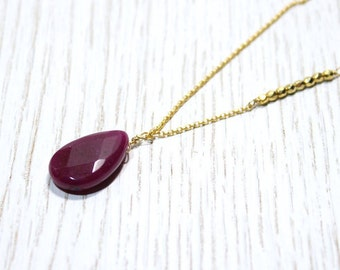 Long Pendant Necklace with Purple Plum Agate and Swarovski Crystals