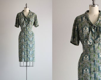 Atomic Dress / 1950s Vintage Dress / Retro 50s Shirtdress