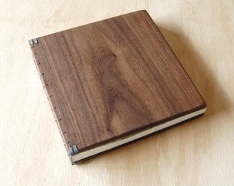 Wood Wedding Guest Book Black Walnut Rustic Cabin Guestbook Journal  memorial book anniversary gift  photo guestbook  - ready to ship