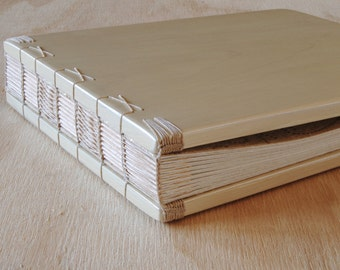 Wood Wedding Guest Book in Champagne Gold spring summer wedding anniversary birthday garden floral rustic journal sketchbook - made to order