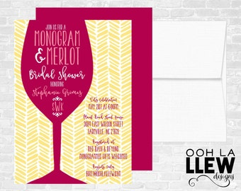 Monograms and Merlot Bridal Shower Invitation
