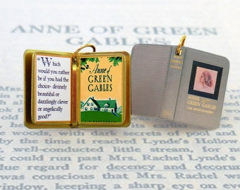 Anne of Green Gables by L.M. Montgomery - Miniature Book Charm Quote Pendant- for charm bracelet or necklace. Custom available!