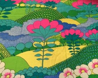 "1960/70's Stylized Garden Barkcloth Fabric by THC Textiles 45"" x 42""- barkcloth fabric, psychedelic barkcloth fabric, 1960's fabric"