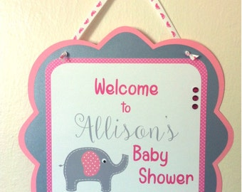 PINK & GRAY ELEPHANTS Baby Shower or Birthday Party Door Sign