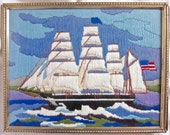 Ship Nautical Sailing Sea Wall Hanging Needle Work American Blue Handmade Wall Decor Patriotic 1960s