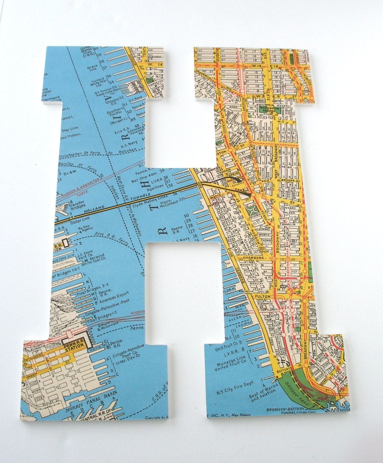 NYC Map Custom Wooden Letters Nursery Name Décor Travel