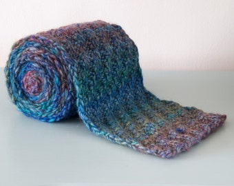 Blue Knitted Scarf - Multicoloured Chunky Diagonal Rib Merino Wool Unisex Winter Accessory Gift for Him Gift for Her by Emma Dickie Design