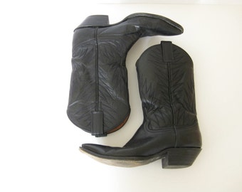 Vintage Custom Black Leather Cowboy Boots by Attitude // Made in the USA // Country // Outlaw // // Western // Biker // Rocker
