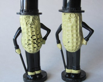 Vintage Planters Mr Peanut Salt and Pepper Shakers by Pyro 1950s Plastic