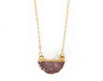 Mini Druzy Half Moon Necklace - Druzy necklace, moon necklace, boho jewelry, delicate necklace