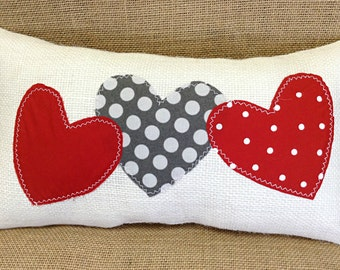 Wedding Gift Pillow, Heart Pillow, Engagement Gift, Red Heart Pillow, Burlap Pillow, Home Decor, Wedding Gift, Valentine Pillow