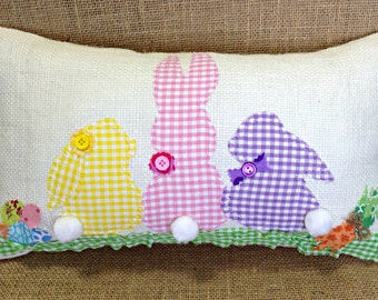 Easter Pillow, Easter Bunny Pillow, Easter Rabbit Pillow, Burlap Easter Pillow, Easter Decor, Easter Decoration, Easter Gift