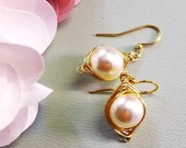 Wire Wrapped Cream/Ivory Pearl Gold Earrings, Rose gold Pearl Earrings,Gray/Grey Pearl Earrings, Bridal/Bridesmaid Pearl Earrings