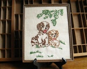 Reserved for Gregorio: Vintage Needlepoint Dogs Framed Portrait of Cocker Spaniels