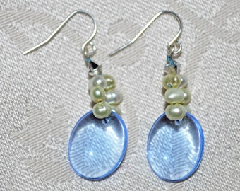 Blue Glass and Green Pearl Beaded Earrings