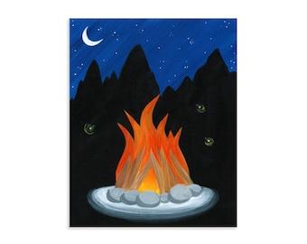 Campfire Glow - Bonfire & Fireflies Outdoors Boys Room Art