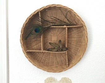 vintage woven wall hanging wicker basket / curio box / shelf / wall pocket