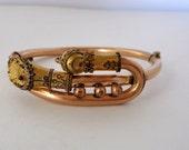Antique Victorian Rosy Gold Filled Hinged Bangle Bracelet Wedding Bracelet Etruscan Style Details