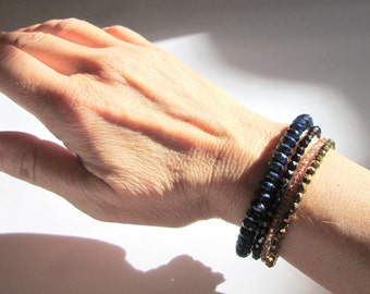 Navy Blue and Gold Beaded Wrap Bracelet, Memory Wire Czech Glass and Seed Beads, Stackable Coil Bangle, Arm Candy, Stacked Bracelet Cuff