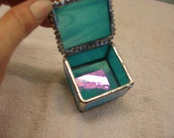 Stained Glass Ring Box - Iredescent Sea Green 2 x 1 5/8 x 1 3/4
