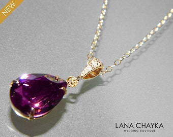 Amethyst Crystal Necklace Swarovski Purple Rhinestone Amethyst Gold Wedding Necklace Purple Necklace Amethyst Teardrop Necklace