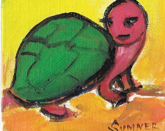 Original acrylic animal painting childs room green and red turtle 5x5