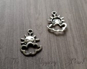 You Are My Sunshine Charms Sun Charms Sun and Clouds Charms Antiqued Silver 10 pieces
