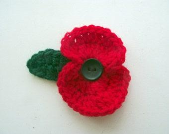 Poppy Appeal, Remembrance Day Poppy Brooch, Donation to British Legion,  Crochet Poppy Pin, Poppy, Flower Pin, Handmade Poppy Pin,