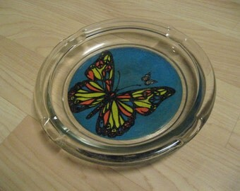 "Butterfly Ashtray - Large 8"" Vintage 1960s Flower Power Groovy Hippie Cigarette"