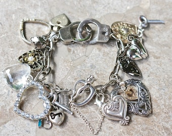 Vintage Charm Bracelet, upcycled charms, toy handcuffs, hearts, silver, rhinestones, Jennifer Jones, bulk discount, OOAK - Chains of Love
