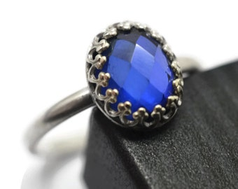 Blue Sapphire Ring, Personalized Anniversary or Birthday Gift, Sterling Silver Ring, Bezel Jewelry, Engraved Lab Sapphire Cocktail Ring