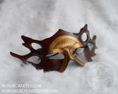 Armor Forest Goddess Mask - Handmade Leather Costume Fantasy Greenman Mask - Renaissance Festival Masquerade