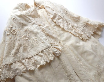 FOR STUDY or DOLL French Christening Cape in Fine Wool with Remarkable Embroidery