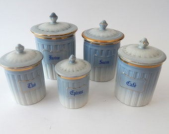 Lovely set of 5 French Limoges Porcelain  Canisters with Lids  Blue and White Gold Decoration